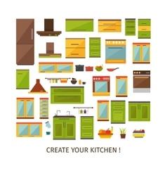 Kitchen interior decorative elements set vector