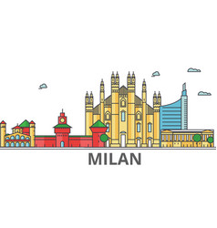 milan city skyline buildings streets silhouette vector image