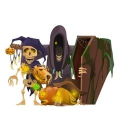 Monster skeleton pumpkin symbols of halloween vector