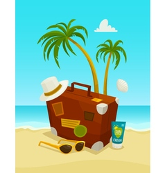 Ocean beach concept with travel luggage palms vector