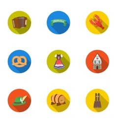 Oktoberfest set icons in flat style big vector