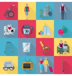 Pensioners Icons Set vector image vector image