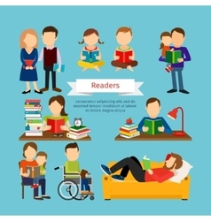 People characters reading book or magazines vector