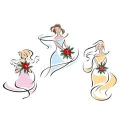 Pretty doodle sketches of brides vector image
