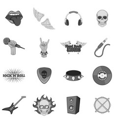 Rock music icons set monochrome vector