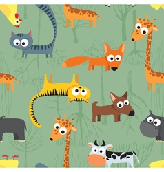 Seamless background pattern with animals vector image vector image