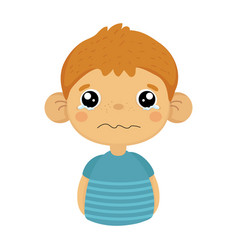 Tearful upset cute small boy with big ears in blue vector