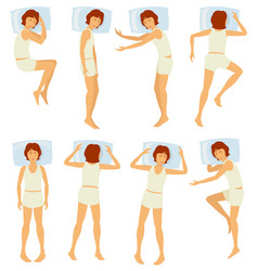 Woman sleeping postures relaxing female sleep in vector