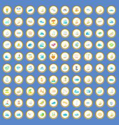 100 water recreation icons set cartoon vector