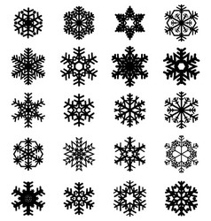 Different black snowflakes vector