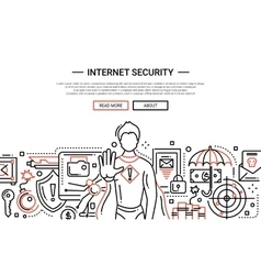 Internet security - line design website banner vector