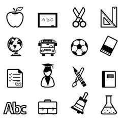 Education icons black vector