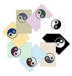 Symbol climate balance shape yin-yang firm style vector