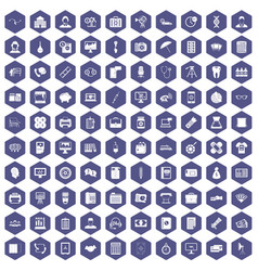 100 department icons hexagon purple vector