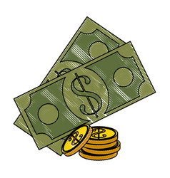 Billets and coins money vector