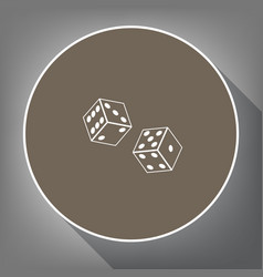 Dices sign  white icon on brown circle vector
