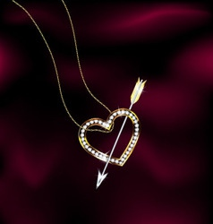 Jewelry heart and arrow vector