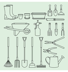 Linear set of garden tools and access vector