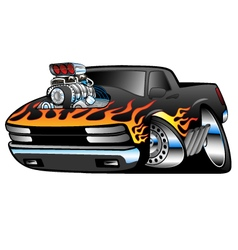 Hot rod pickup truck vector