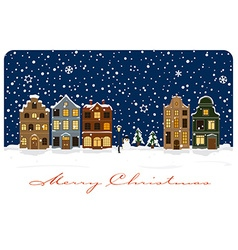 Winter village christmas greetings vector