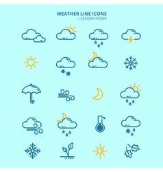 Forecast weather and seasonable icons set vector