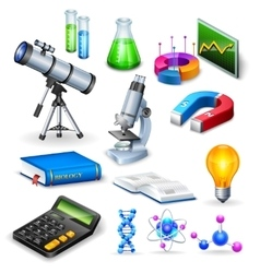 Science realistic icons set vector