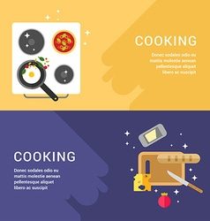 Cooking concept set of web banners pan with fried vector