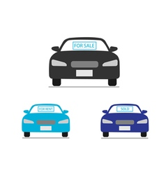Car for sale for rent sold icons vector