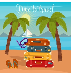 Tropical vacation travel baggage beach vacation vector