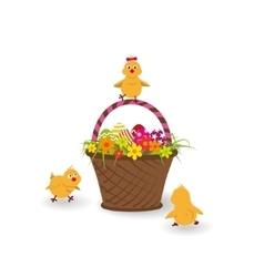 Three little yellow chicken vector image