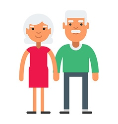 Elderly cute couple with gray hair vector