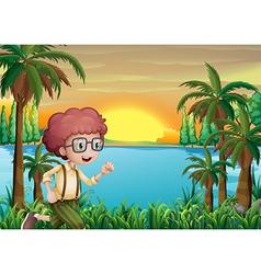 A boy running near the deep lake vector image vector image