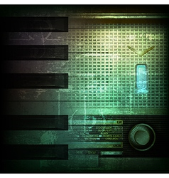 abstract dark green grunge background with retro vector image vector image