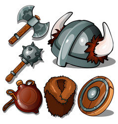 ancient clothes and weapons of vikings vector image