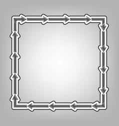 Arrow on a square shape pencil sketch vector