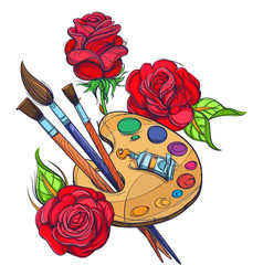 artists palette with paints brushes and roses vector image vector image