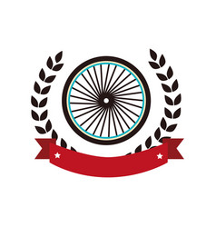 Bicycle wheel emblem icon vector