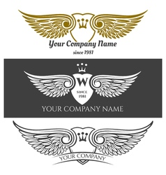 Black angel wings logo set winged labels with vector