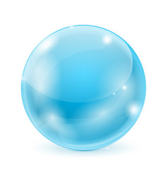 blue glass ball 3d shiny sphere vector image