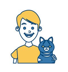 Boy with cat vector
