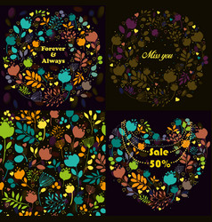 Bright floral patterns set vector