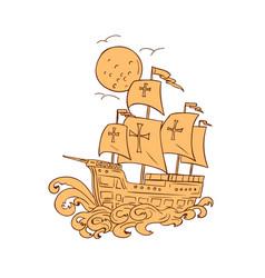 caravel sailing ship moon drawing vector image vector image