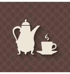 coffee pot and cup on seamless background vector image vector image