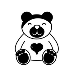 Contour nice teddy bear toy to game vector