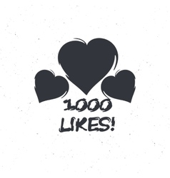 Emblem with hearts for social media to decorate vector image vector image