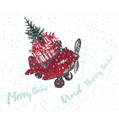 Festive christmas card red airplane with fir tree vector