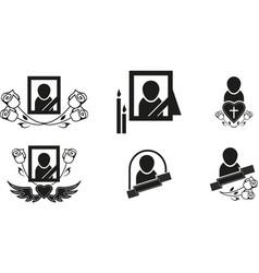 Funeral symbols vector