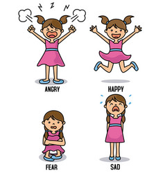 girl with different emotions vector image vector image