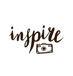 Inspire calligraphic lettering with photo camera vector