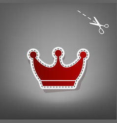 King crown sign red icon with for vector
